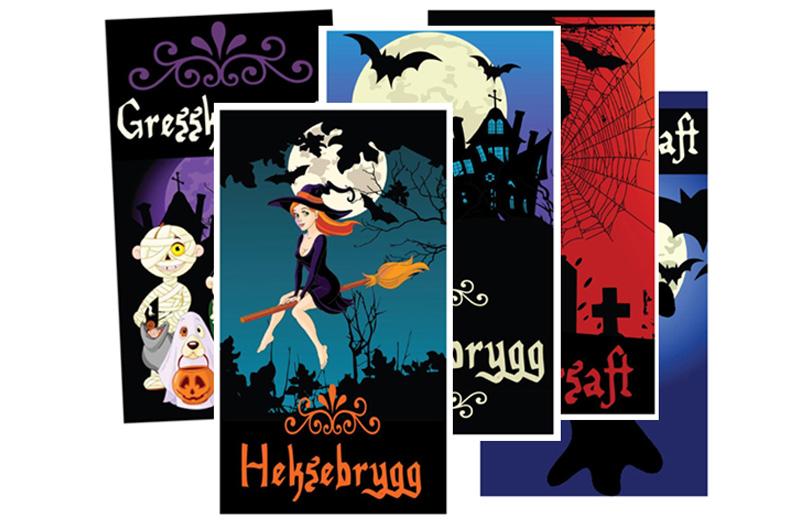 Halloween flaske-etiketter